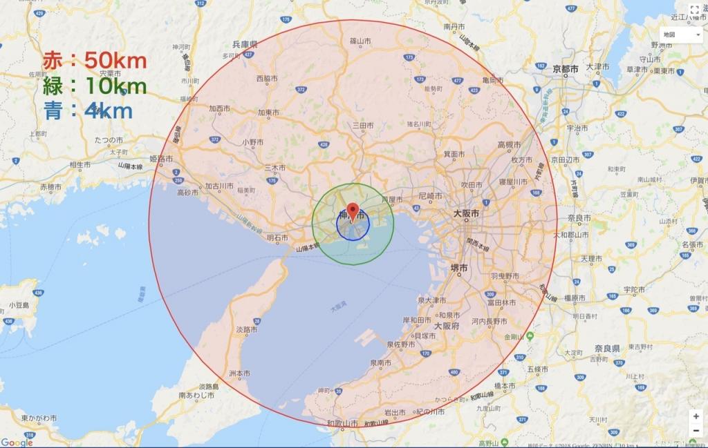 KIITOを中心に50キロの円を描いた地図